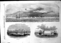 Original Old Antique Print Panoramic View Cronstadt Risbank Fort Cronslott 1854