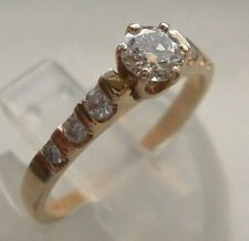 SPARKLING  ELEGANT 14K Y SOLID GOLD O.53CT TW DIAMOND ENGAGEMENT RING SIZE 7