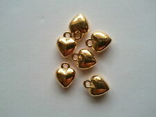 10x Pretty Solid Tibetan Silver material 3D puffed Heart charms 12mm Gold Plated