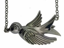 Big Sparrow Necklace Tribal Gothic Tattoo Rock Rebel Pendant Silver Metal New TG