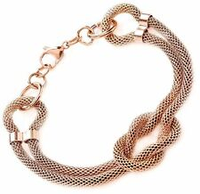 Stainless Steel Rose Gold Knotted Rope Chain 22cm Bracelet armband