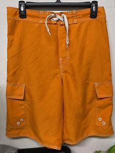 ARIZONA Kids' Used Orange Cargo Swimshorts Size XL (18/20)