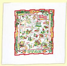 Vtg Style UTAH UT State Souvenir Flour Sack Kitchen Dish Tea Towel Mormon Travel