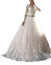Wedding Gown Long Sleeve Bridal Champagne Long Princess Lace Beaded Size 12