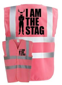 I AM THE STAG Pink Stag Do Party Night Groom Hi-Vis Printed Vest T-Shirt