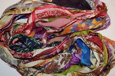 10 yards Recycled Sari Silk Ribbon chiffon Yarn, Multi Print shades2 for tassels