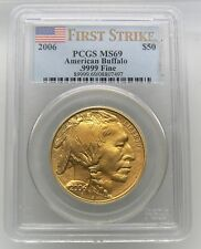 2006 $50 American Buffalo PCGS MS69 1 oz .9999 Fine Gold First Strike Flag Label