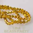 New Arrival 200pcs 3mm Faceted Bicone Loose Spacer Glass Beads Gold Yellow