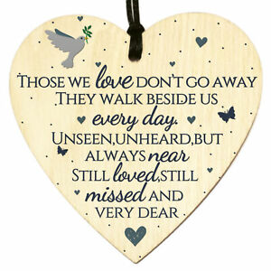 Wooden Heart Plaque Sign Bereavement Memorial Remembrance Poem Loss Love Gift