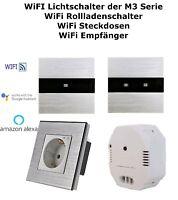Wifi WLAN Touch Lichtschalter 1 oder 2 Fach Steckdose Alu Glas Silber M3
