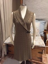 Calvin Klein Brown Cable Knit Shawl Collar Buckle Sweater Dress Large Excellent