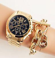Original Michael Kors Uhr Damenuhr MK5739 BRADSHAW XL Farbe:Gold/Schwarz NEU