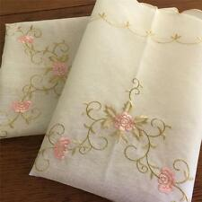 Pair Pretty Embroidery Flower Sheer Cafe / Kitchen Curtain--Pink