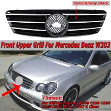 For Mercedes Benz W203 Grill C230 C320 C240 2001-2007 Grille Gloss Black 4