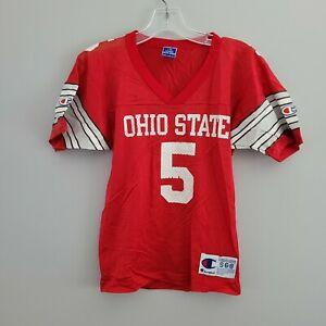 Rare VTG 90s Champion Ohio State Buckeyes 5 Red Football Jersey Youth Kids S 6-8