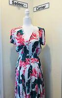 Womens Maxi Dress Flowing Skirt Comfort Fit Elastic Waist Size Medium
