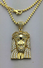 Sterling Silver GP Jesus Head Piece Pendant Necklace Simulated Diamonds 16.18 g