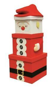 Christmas Gift Box Large Santa 3pc Set Stacking Nesting Christmas Eve Boxes