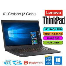 3rd Gen Ultrabook Lenovo ThinkPad X1 Carbon i7-5600U 8GB 256GB SSD FHD 2560x1440