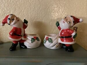 Holt Howard Christmas Santa Candle Holders - 1958