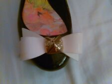 TED BAKER BEAUTIFUL JELLY FLAT SHOES BLACK WITH CREME BOW WITH GOLD LOGO