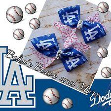 """LA Dodgers Pigtails Bows 4"""" wide"""