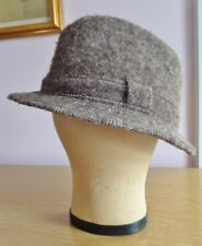 Vintage Fedora Hat 1970s Brown Chevron Size L Trilby Jacob Wool Made in Britain