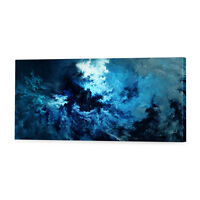 Stormy Blue Abstract Canvas Print   Framed Ready to Hang Wall Art