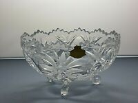 """LEAD CRYSTAL CUT GLASS FLOWER FOOTED WITH BOX - 3 1/2"""" TALL"""