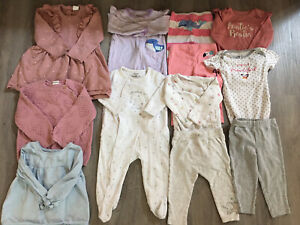 Newborn Girl Clothing Lot, 12 Items, 9 Months, Carter's, H&M, Little Me