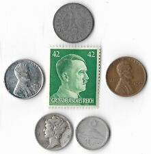 Rare Very Old WWII US Japan Germany Stamp Coin Collection Lot Silver Mercury J9