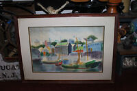 Nautical Water Color Painting Small Boats Docking Waterfront Buildings Framed