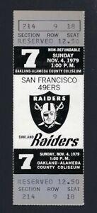 VINTAGE 1979 NFL SAN FRANCISCO 49ERS @ OAKLAND RAIDERS FULL FOOTBALL TICKET