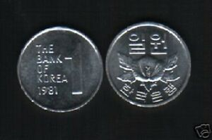 SOUTH KOREA 1 WON KM-4 A 1981 x 1 ROSE FLOWER UNC UN COMMON KOREAN CURRENCY COIN