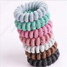 5X Telephone wire high elasticity hair rubber band lady flannelette head wear