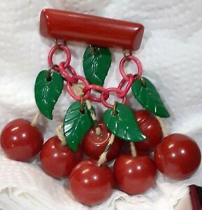 Vintage Red Bakelite Book Piece Carved Cherries Dangle Pin Brooch green leaves