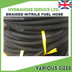 BRAIDED RUBBER FUEL HOSE/PIPE COTTON NITRILE FOR OIL, DIESEL & UNLEADED FUEL E10