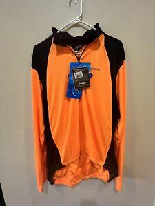 mens Canari XXL Long Sleeve Cycling Jersey Hi Vis - Orange/Black W/ Back Pockets