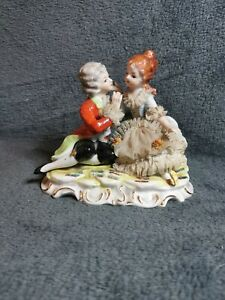 Vintage 'Foreign' Courting Couple Figurine Seated With Lace Ruffles & Gold Gilt