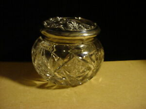 Art Nouveau Cut Glass & Webster Sterling Powder Jar