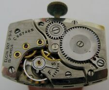 rectangle Elgin 557 15 jewels manual wind watch movement for parts ...