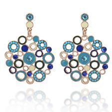 Vintage Women Blue Rhinestone Hollow Circle Ear Stud Drop Dangle Earring Jewelry