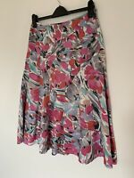 Monsoon A Line Knee Length Floral Ramie Lined Skirt Size 10