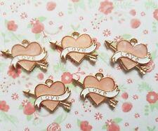 5pcs x Cute Love Heart Enamel Gold Metal Alloy CHARM Pendants DIY Jewellery