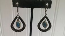 Textured Brasstone Metal Blue Pottery Bead Teardrop Dangle Wire Pierced Earrings