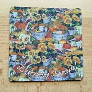 """Fall Drink Coasters 4"""", Set of 4, EVERYTHING PUMPKIN, Coaster Black Rubber Back"""