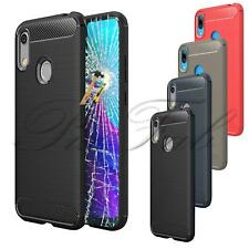 For Huawei Y6 2019 New Carbon Fiber Shock Proof Gel Phone Case + Tempered Glass