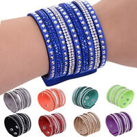 Fashion Leather Wrap Wristband Cuff Punk Crystal Rhinestone Bracelet Bangle huyk