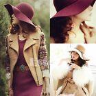 Women Vintage Felt Bowler Fedora Hat Winter Wide Brim Floppy Cloche