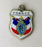 FRANCE Vintage Silver Enamel Travel Shield Charm for Souvenir Bracelet
